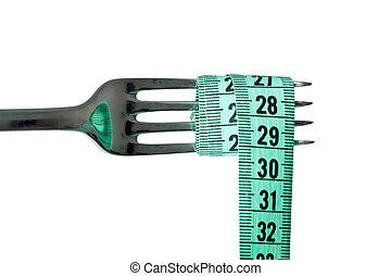 nastro di misura, forchetta