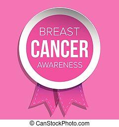 nastro, distintivo, consapevolezza, cancro, seno