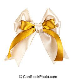 nastro oro, con, arco