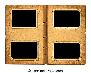 nastro, photoalbum, fondo, isolato, foto, aperto, bianco