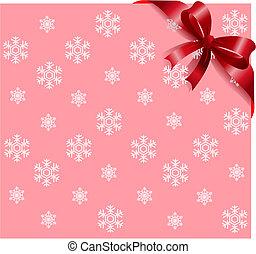nastro rosa, fondo, fiocchi neve, rosso