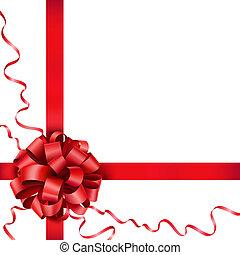 nastro, rosso, arco regalo