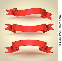 nastro rosso, bandiera, set