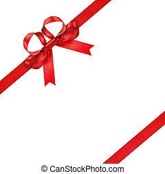 nastro rosso, con, arco, su, isolato, sfondo bianco