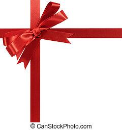 nastro rosso, white., regalo, isolato, arco