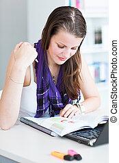 nastrojony, image), student, badając, uniwersytet, library/...