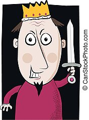 A cartoon image of an evil king with staring eyes and sword.
