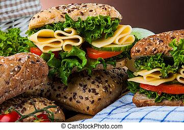 nasycený, námět, o, sendvič