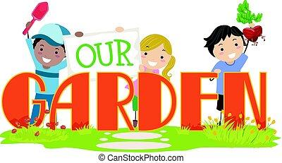 nasz, dzieciaki, stickman, ogród