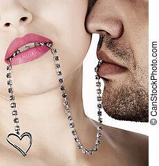 naszyjnik, połączenie, miłość