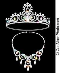 naszyjnik, tiara, błyszczący, gemstones