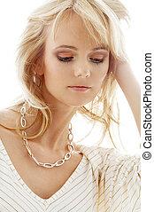 naszyjnik, złoty, śliczny, blond