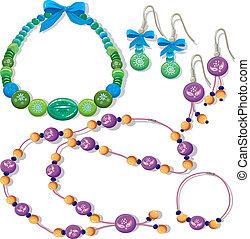 naszyjniki, i, earrings