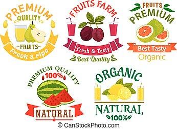 natürlich, fruechte, symbole, für, landwirtschaft, design