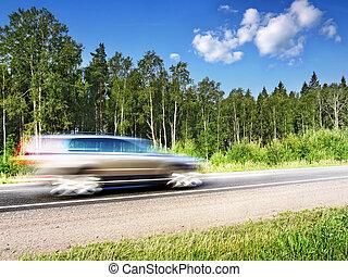 natürlich, land, geschwindigkeitsüberschreitung, landstraße, bewegung, auto, verwischen