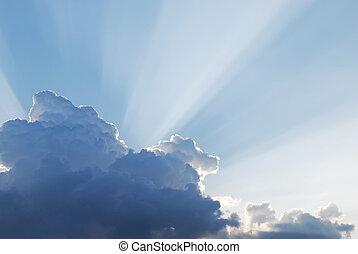 natürlich, sonne- strahlen, von, der, wolkenhimmel
