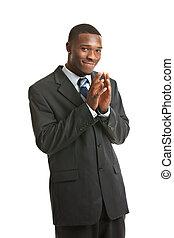 natürliches schauen, junger, afrikanischer amerikanischer mann, modell, freigestellt