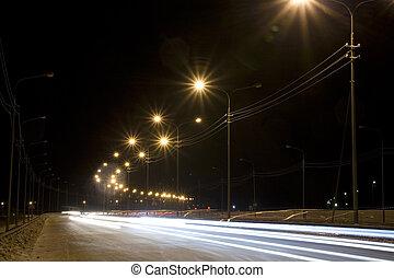 nat, gade, hos, spor, af, lys, i, forlygter, shined, hos, gade, lanterner