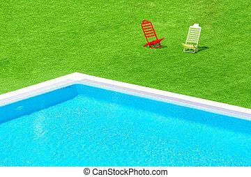 natação, cadeiras, convés, piscina, negligenciar, infinidade