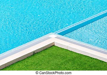 natação, capim, canto, ao redor, verde, piscina