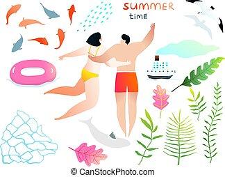 natação, clip, mão, romance, arte, pessoas, agua, desenhado, elementos, collection., coloridos