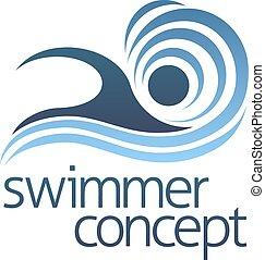 natação, conceito, nadador