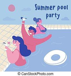 natação, coquetel, men., mulheres, piscina, partido.