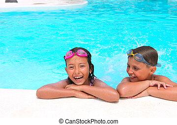 natação, crianças, menina, lado, menino, feliz, relaxante