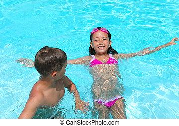 natação, crianças, menina, lado, menino, piscina, feliz, relaxante