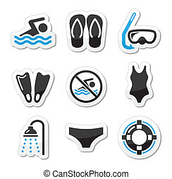 natação, desporto, equipamento mergulho mergulhando, ícones