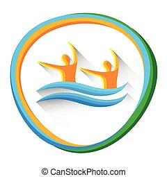 natação, desporto, sincronizado, competição, ícone