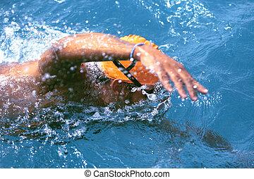 natação, freestyle, azul, wate