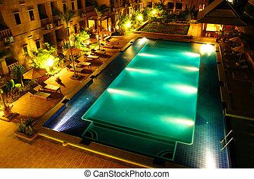 natação, hotel, tempo, piscina, noturna