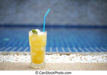 natação, laranja, piscina, suco, feriado