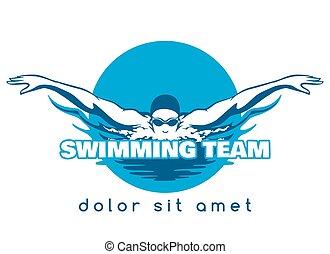 natação, logotipo, vetorial, equipe