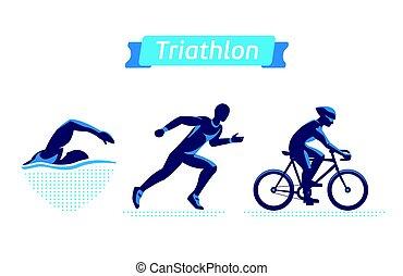 natação, logotipos, triathlon, ciclismo, apartamento, silhouettes., set., experiência., executando, vetorial, figuras, emblemas, branca, triathletes, ou, man.