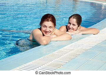 natação, meninas, piscina