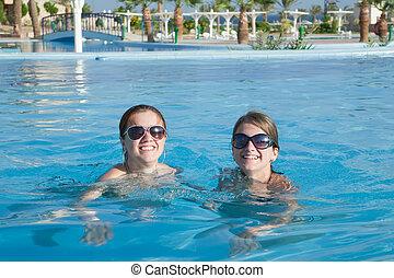 natação, meninas, piscina, jovem, dois