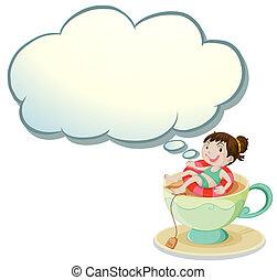 natação, modelo, copo, ilustração, vazio, fundo, branca, feliz, menina, nuvem, acima