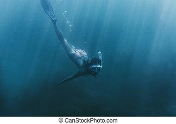 natação, mulher, sea., profundo, freediver