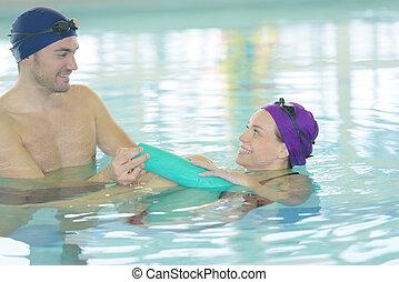 natação, par, piscina