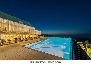 natação, piscina noite, tempo