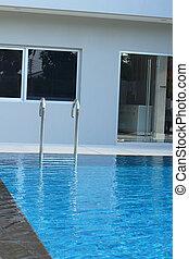 natação, -, piscina, poolside