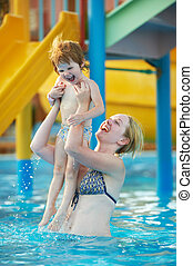 natação, recurso, mulher, piscina, criança