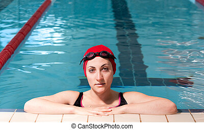 natação, relaxado, mulher, pool., jovem