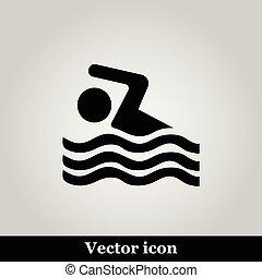 natação, sinal, ícone