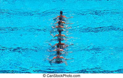 natação, sincronizado, equipe