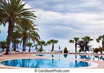 natação, turkey., piscina, costa