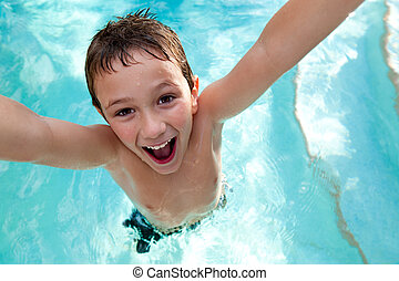 natación, alegre, piscina, niño