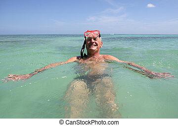 natación, buceo, esnórquel, hombre de la máscara